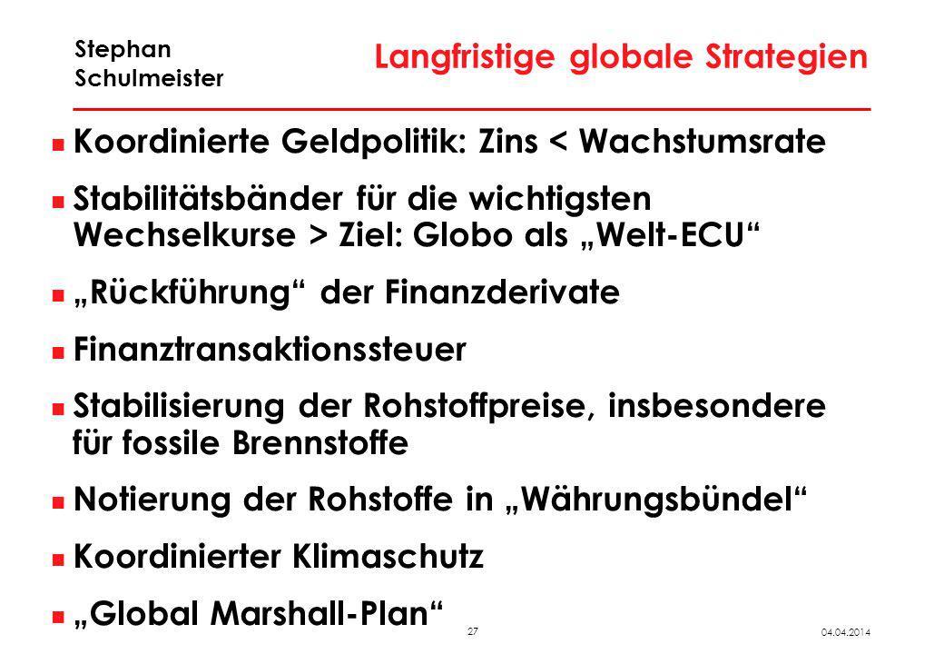 27 04.04.2014 Stephan Schulmeister Langfristige globale Strategien Koordinierte Geldpolitik: Zins < Wachstumsrate Stabilitätsbänder für die wichtigste