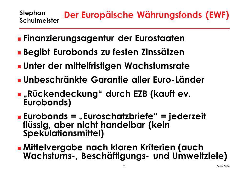 28 04.04.2014 Stephan Schulmeister Der Europäische Währungsfonds (EWF) Finanzierungsagentur der Eurostaaten Begibt Eurobonds zu festen Zinssätzen Unte