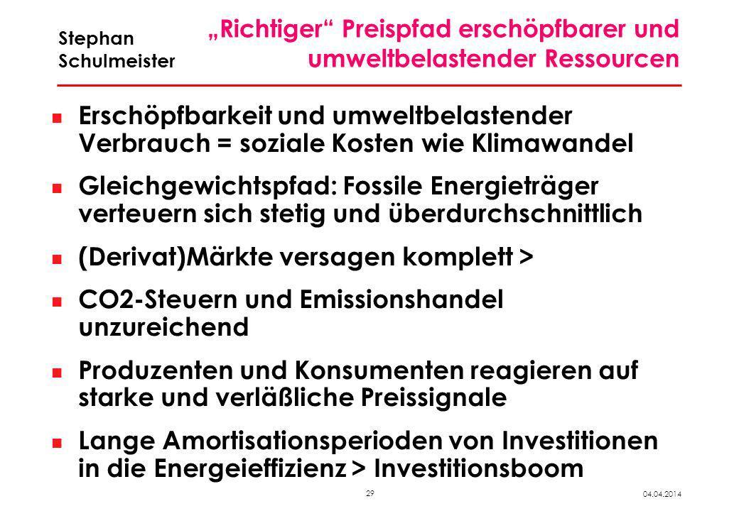29 04.04.2014 Stephan Schulmeister Richtiger Preispfad erschöpfbarer und umweltbelastender Ressourcen Erschöpfbarkeit und umweltbelastender Verbrauch