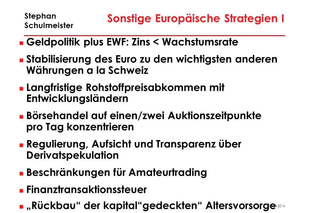 30 04.04.2014 Stephan Schulmeister Sonstige Europäische Strategien I Geldpolitik plus EWF: Zins < Wachstumsrate Stabilisierung des Euro zu den wichtig