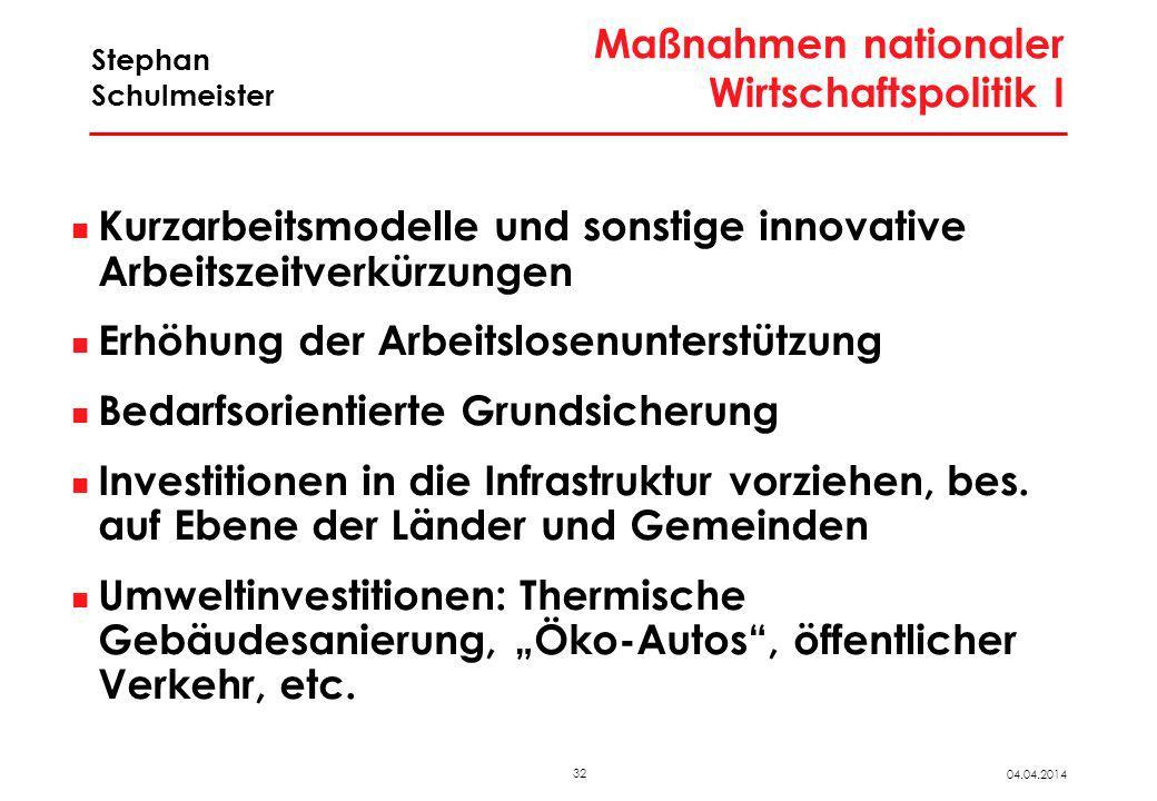 32 04.04.2014 Stephan Schulmeister Maßnahmen nationaler Wirtschaftspolitik I Kurzarbeitsmodelle und sonstige innovative Arbeitszeitverkürzungen Erhöhu