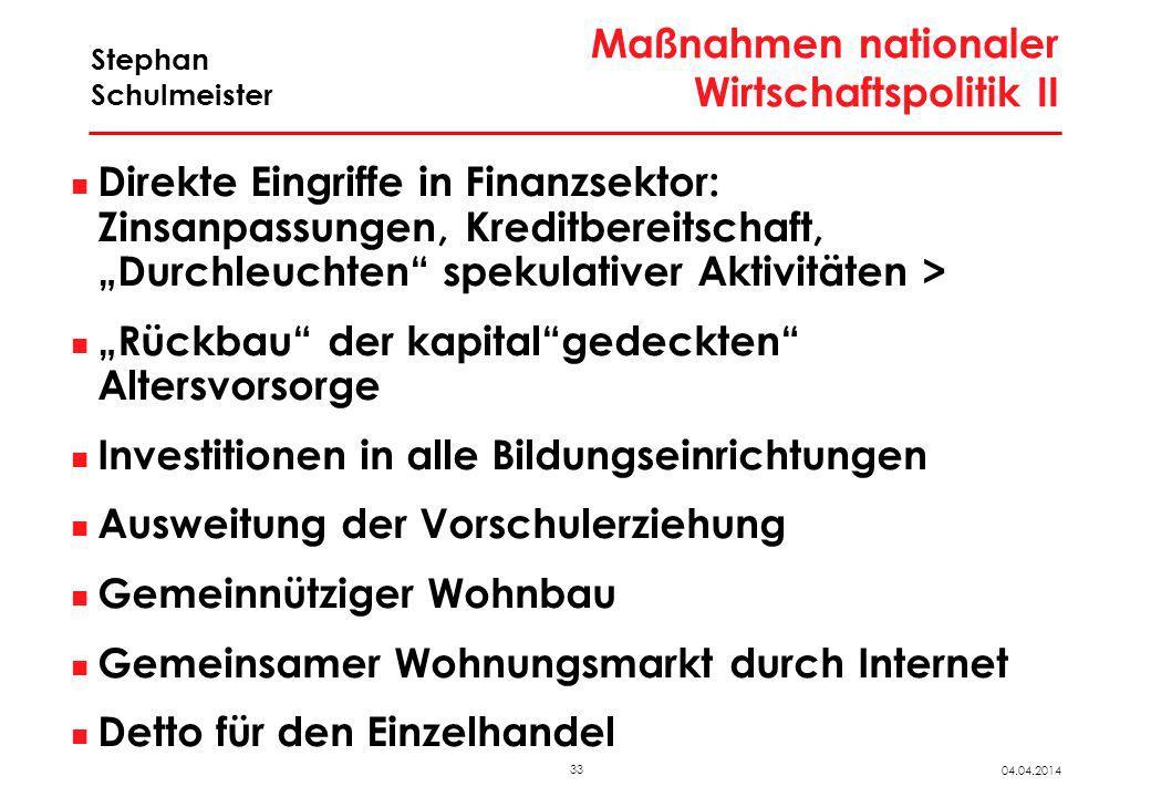 33 04.04.2014 Stephan Schulmeister Maßnahmen nationaler Wirtschaftspolitik II Direkte Eingriffe in Finanzsektor: Zinsanpassungen, Kreditbereitschaft,