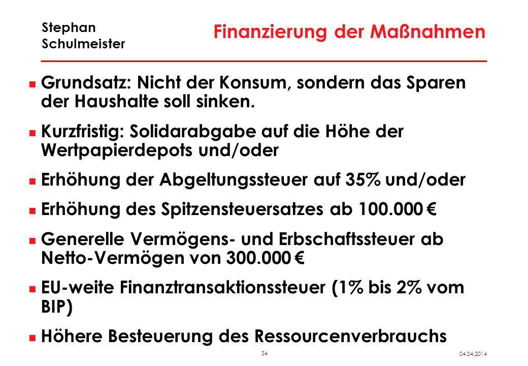 34 04.04.2014 Stephan Schulmeister Finanzierung der Maßnahmen Grundsatz: Nicht der Konsum, sondern das Sparen der Haushalte soll sinken. Kurzfristig: