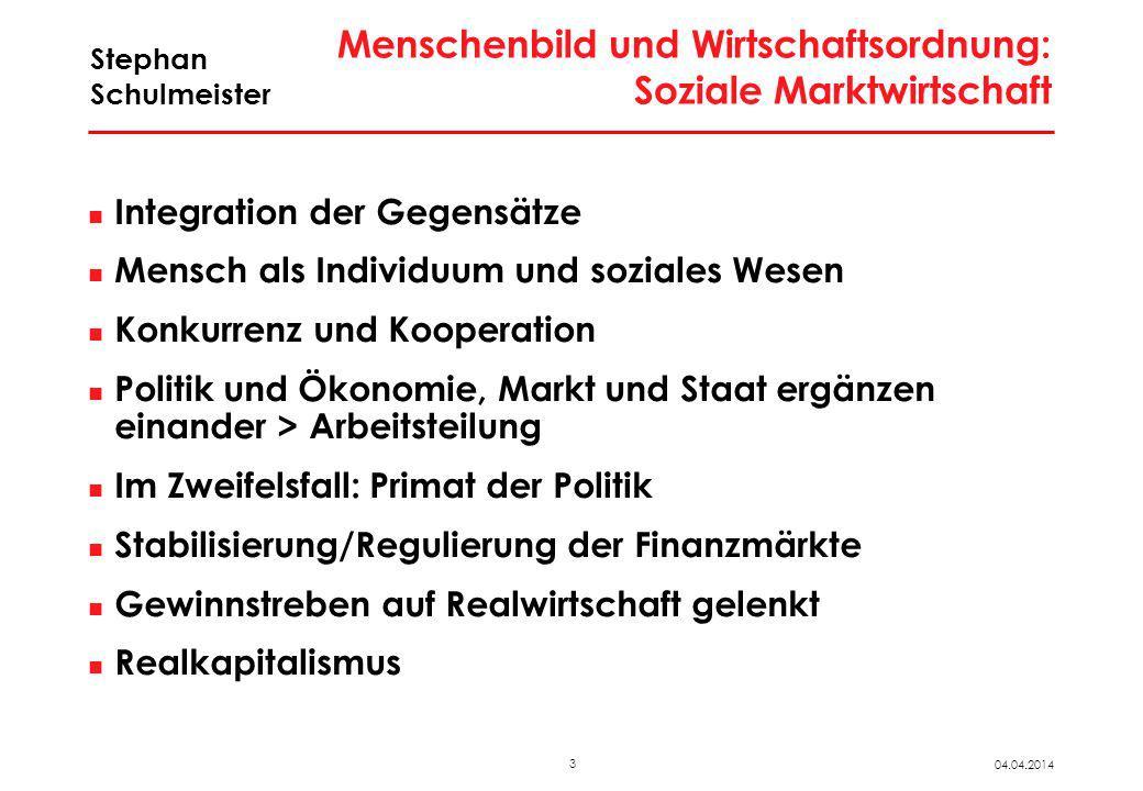 3 04.04.2014 Stephan Schulmeister Menschenbild und Wirtschaftsordnung: Soziale Marktwirtschaft Integration der Gegensätze Mensch als Individuum und so