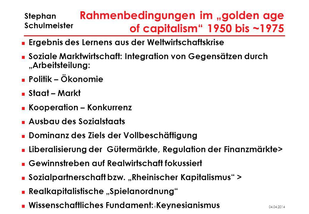 4 04.04.2014 Stephan Schulmeister Rahmenbedingungen im golden age of capitalism 1950 bis ~1975 Ergebnis des Lernens aus der Weltwirtschaftskrise Sozia