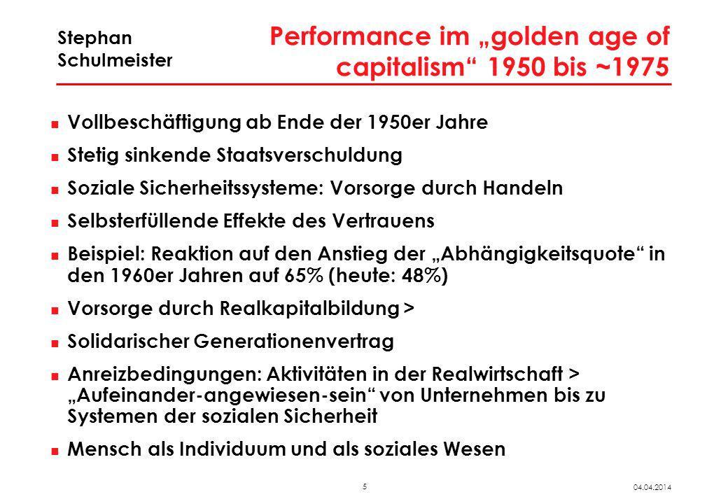 5 04.04.2014 Stephan Schulmeister Performance im golden age of capitalism 1950 bis ~1975 Vollbeschäftigung ab Ende der 1950er Jahre Stetig sinkende St