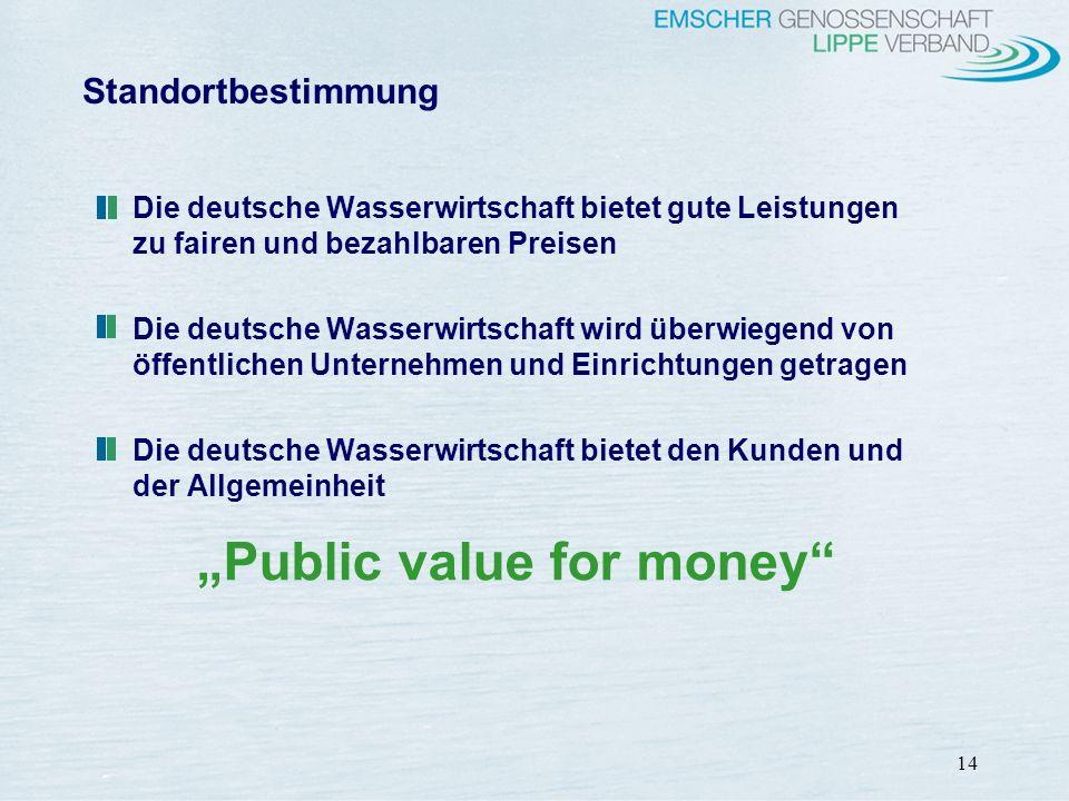 14 Standortbestimmung Die deutsche Wasserwirtschaft bietet gute Leistungen zu fairen und bezahlbaren Preisen Die deutsche Wasserwirtschaft wird überwi