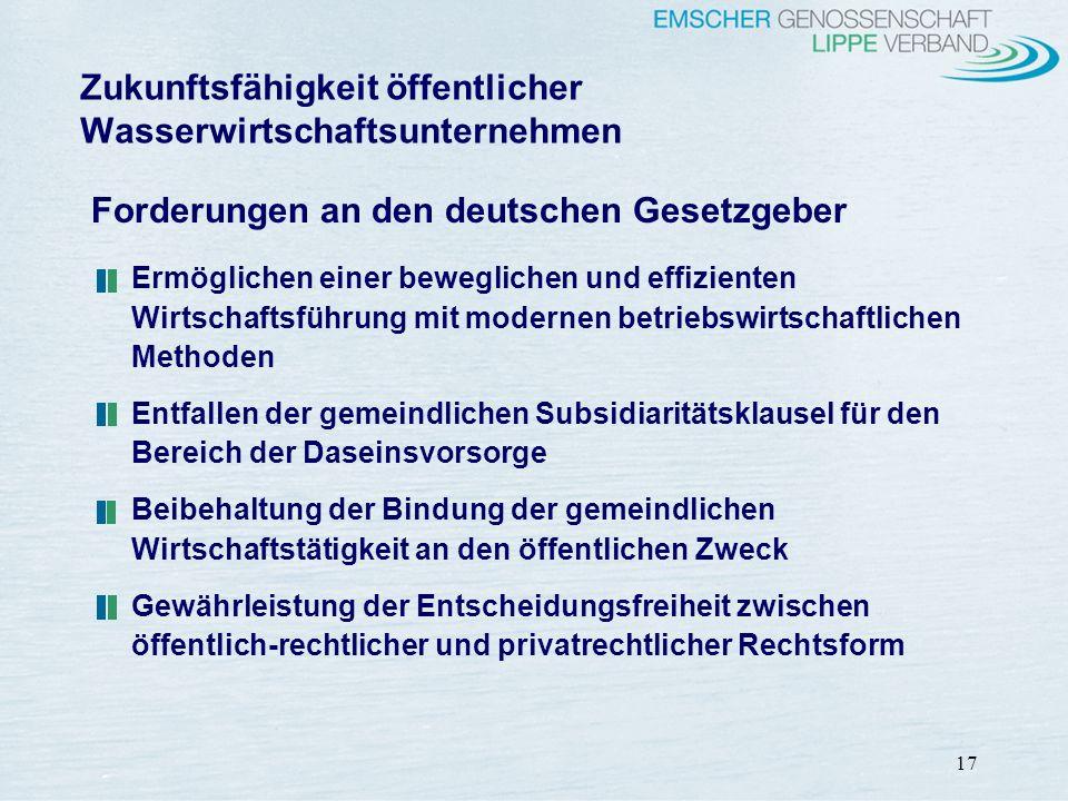 17 Forderungen an den deutschen Gesetzgeber Ermöglichen einer beweglichen und effizienten Wirtschaftsführung mit modernen betriebswirtschaftlichen Met