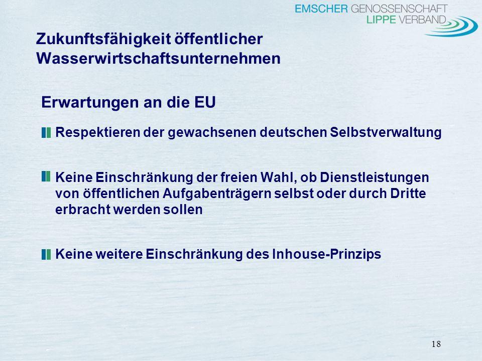 18 Erwartungen an die EU Respektieren der gewachsenen deutschen Selbstverwaltung Keine Einschränkung der freien Wahl, ob Dienstleistungen von öffentli