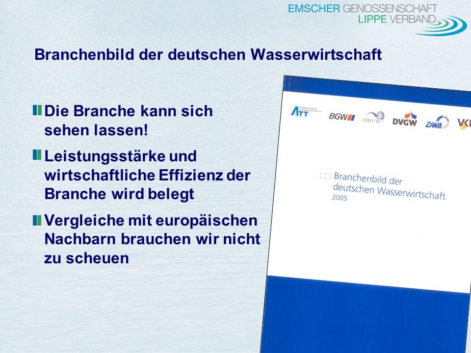 8 Branchenbild der deutschen Wasserwirtschaft Die Branche kann sich sehen lassen! Leistungsstärke und wirtschaftliche Effizienz der Branche wird beleg