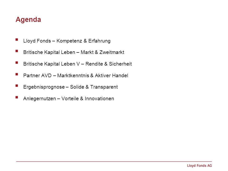Agenda Lloyd Fonds – Kompetenz & Erfahrung Britische Kapital Leben – Markt & Zweitmarkt Britische Kapital Leben V – Rendite & Sicherheit Partner AVD –