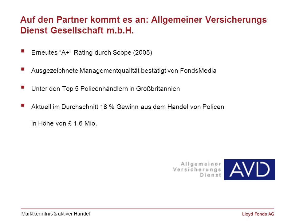 Auf den Partner kommt es an: Allgemeiner Versicherungs Dienst Gesellschaft m.b.H. Erneutes A+ Rating durch Scope (2005) Ausgezeichnete Managementquali