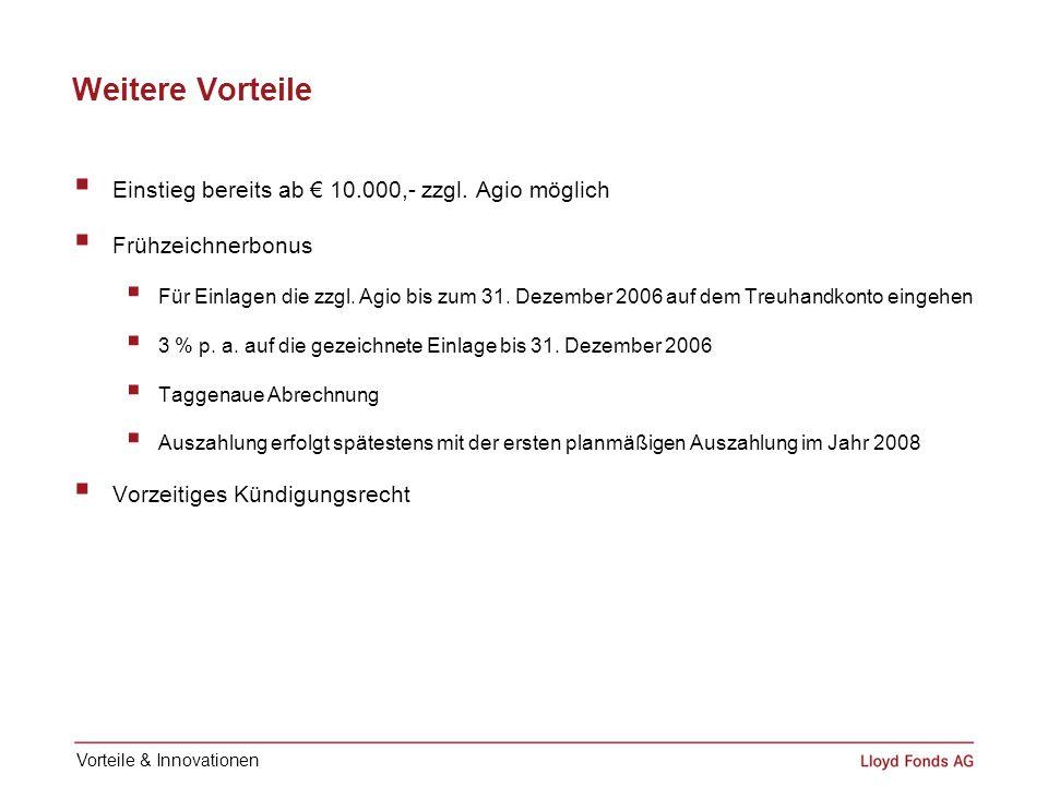 Weitere Vorteile Einstieg bereits ab 10.000,- zzgl. Agio möglich Frühzeichnerbonus Für Einlagen die zzgl. Agio bis zum 31. Dezember 2006 auf dem Treuh
