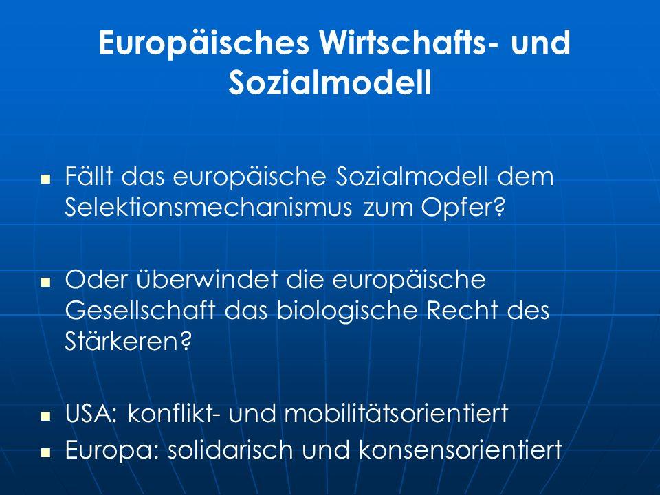 Europäisches Wirtschafts- und Sozialmodell Fällt das europäische Sozialmodell dem Selektionsmechanismus zum Opfer.