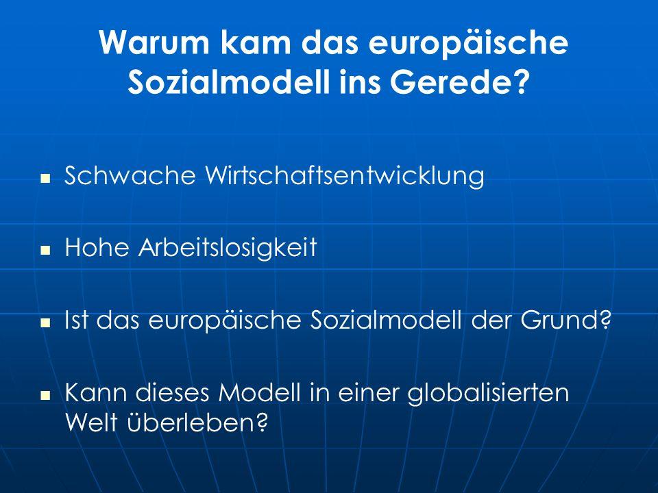 Warum kam das europäische Sozialmodell ins Gerede.