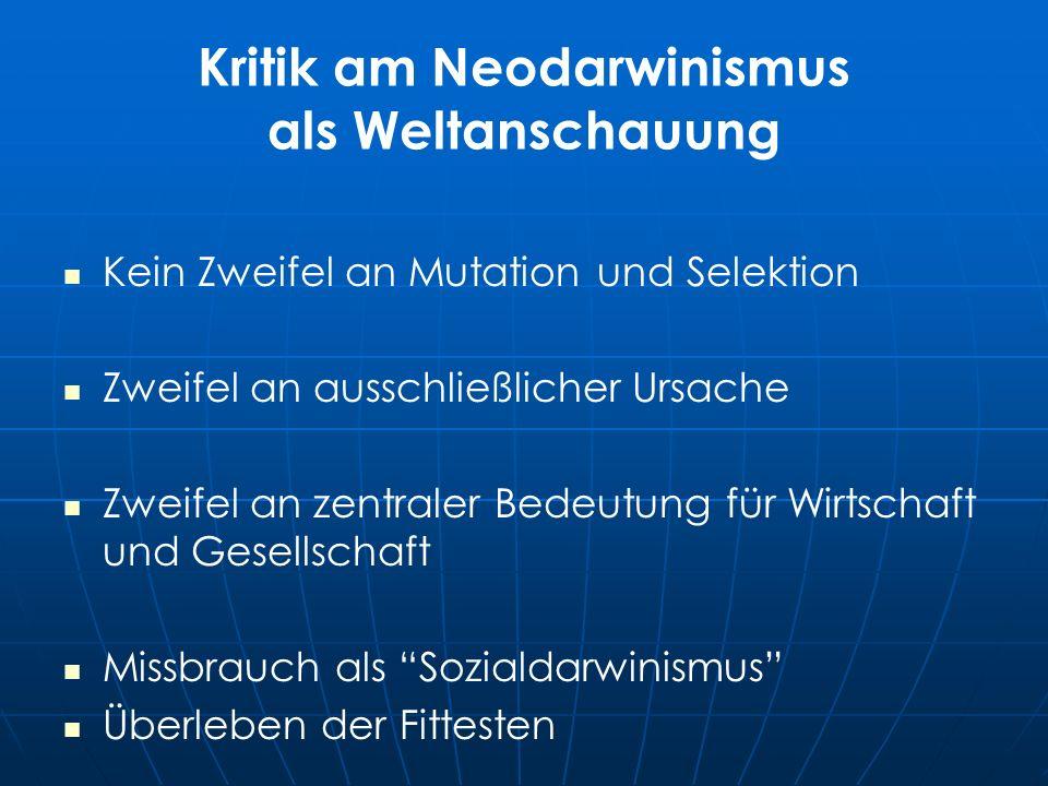 Kritik am Neodarwinismus als Weltanschauung Kein Zweifel an Mutation und Selektion Zweifel an ausschließlicher Ursache Zweifel an zentraler Bedeutung für Wirtschaft und Gesellschaft Missbrauch als Sozialdarwinismus Überleben der Fittesten
