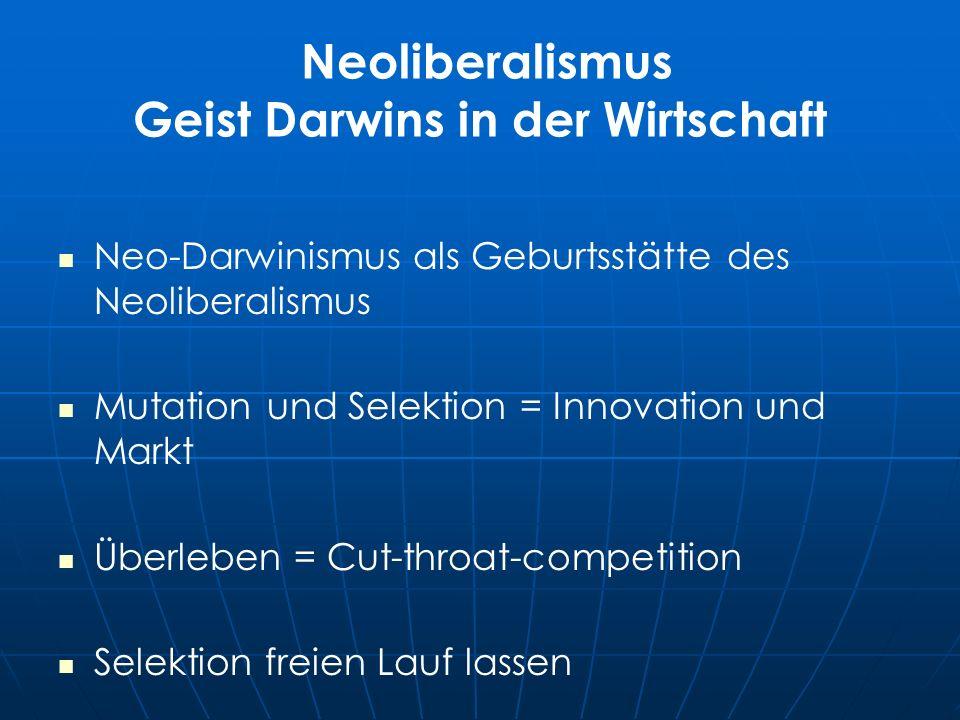 Neoliberalismus Geist Darwins in der Wirtschaft Neo-Darwinismus als Geburtsstätte des Neoliberalismus Mutation und Selektion = Innovation und Markt Überleben = Cut-throat-competition Selektion freien Lauf lassen