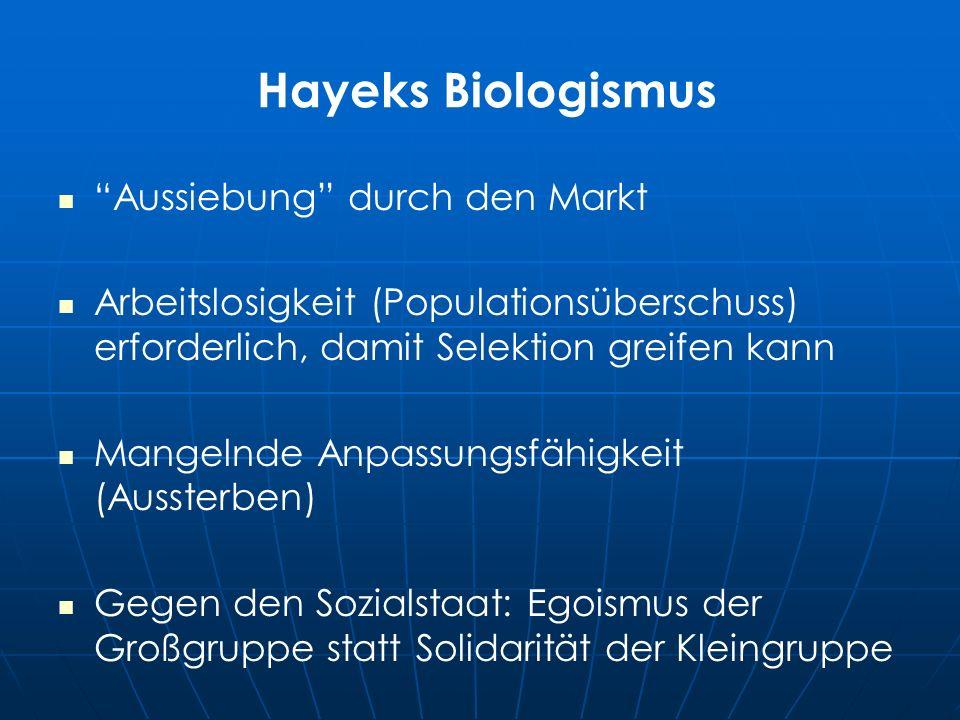 Hayeks Biologismus Aussiebung durch den Markt Arbeitslosigkeit (Populationsüberschuss) erforderlich, damit Selektion greifen kann Mangelnde Anpassungsfähigkeit (Aussterben) Gegen den Sozialstaat: Egoismus der Großgruppe statt Solidarität der Kleingruppe