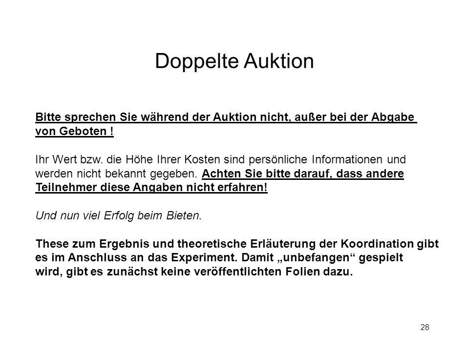 28 Doppelte Auktion Bitte sprechen Sie während der Auktion nicht, außer bei der Abgabe von Geboten ! Ihr Wert bzw. die Höhe Ihrer Kosten sind persönli