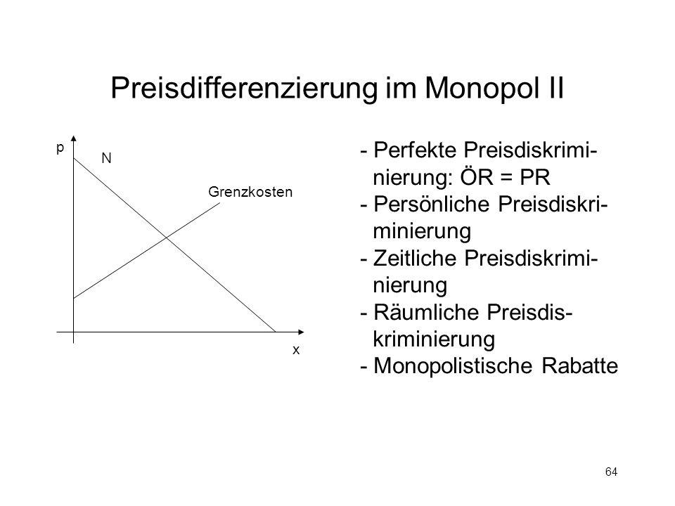 64 Preisdifferenzierung im Monopol II p x N Grenzkosten - Perfekte Preisdiskrimi- nierung: ÖR = PR - Persönliche Preisdiskri- minierung - Zeitliche Pr