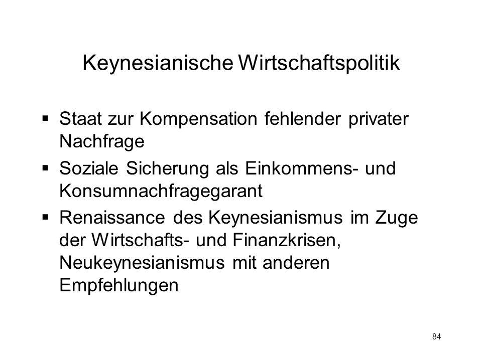 84 Keynesianische Wirtschaftspolitik Staat zur Kompensation fehlender privater Nachfrage Soziale Sicherung als Einkommens- und Konsumnachfragegarant R