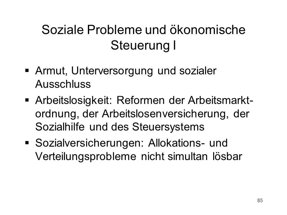 85 Soziale Probleme und ökonomische Steuerung I Armut, Unterversorgung und sozialer Ausschluss Arbeitslosigkeit: Reformen der Arbeitsmarkt- ordnung, d