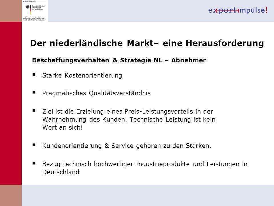 Der niederländische Markt– eine Herausforderung Beschaffungsverhalten & Strategie NL – Abnehmer Starke Kostenorientierung Pragmatisches Qualitätsverst