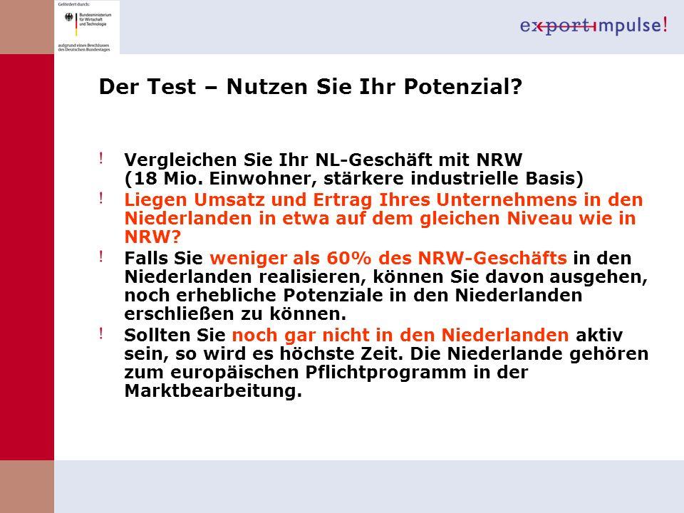 Der Test – Nutzen Sie Ihr Potenzial? Vergleichen Sie Ihr NL-Geschäft mit NRW (18 Mio. Einwohner, stärkere industrielle Basis) Liegen Umsatz und Ertrag