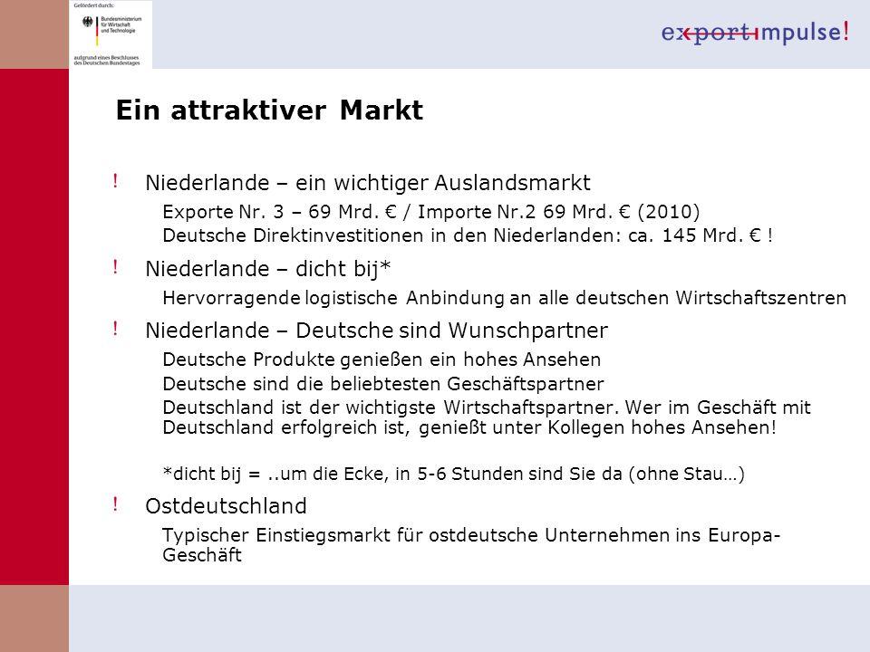 Ein attraktiver Markt Niederlande – ein wichtiger Auslandsmarkt Exporte Nr. 3 – 69 Mrd. / Importe Nr.2 69 Mrd. (2010) Deutsche Direktinvestitionen in