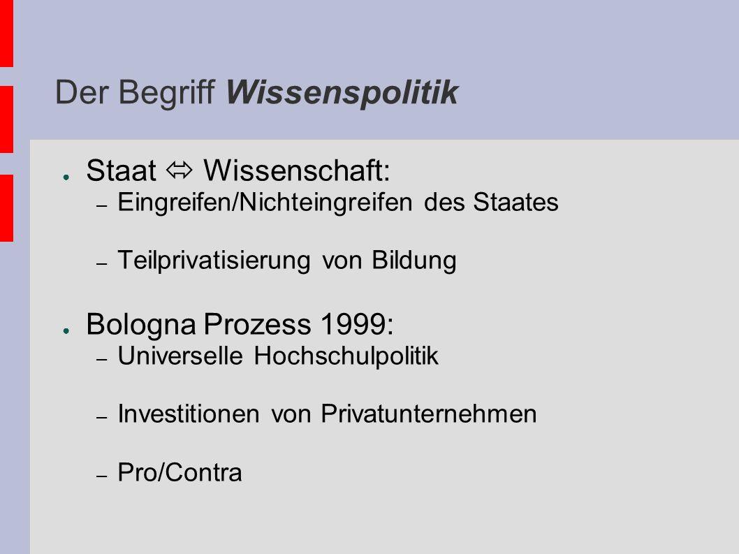 Der Begriff Wissenspolitik Staat Wissenschaft: – Eingreifen/Nichteingreifen des Staates – Teilprivatisierung von Bildung Bologna Prozess 1999: – Unive