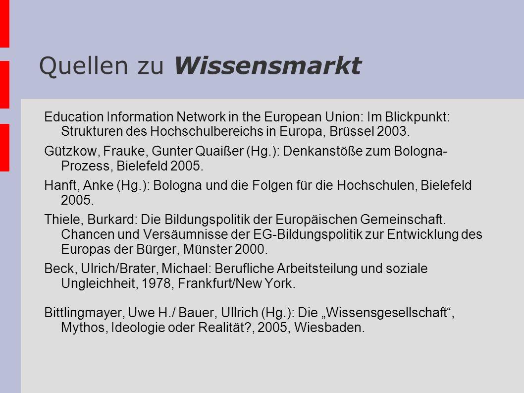 Quellen zu Wissensmarkt Education Information Network in the European Union: Im Blickpunkt: Strukturen des Hochschulbereichs in Europa, Brüssel 2003.