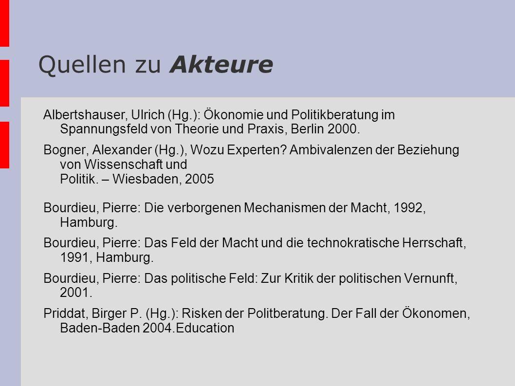 Quellen zu Akteure Albertshauser, Ulrich (Hg.): Ökonomie und Politikberatung im Spannungsfeld von Theorie und Praxis, Berlin 2000. Bogner, Alexander (