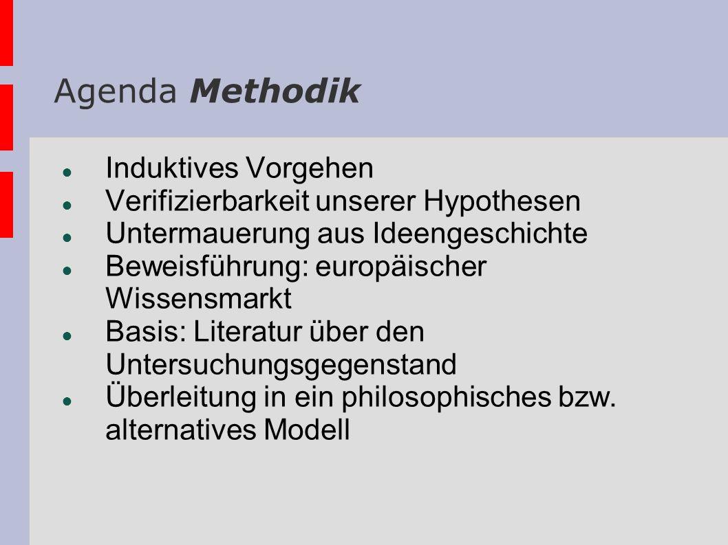 Agenda Methodik Induktives Vorgehen Verifizierbarkeit unserer Hypothesen Untermauerung aus Ideengeschichte Beweisführung: europäischer Wissensmarkt Ba