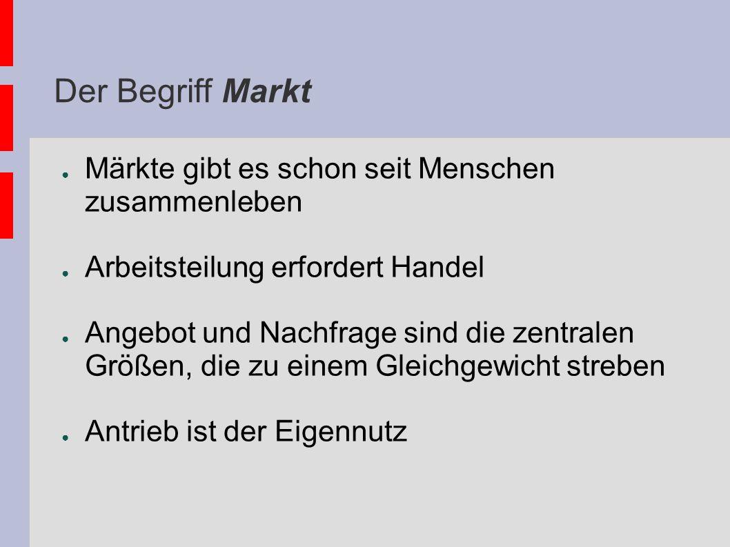 Der Begriff Markt Märkte gibt es schon seit Menschen zusammenleben Arbeitsteilung erfordert Handel Angebot und Nachfrage sind die zentralen Größen, di