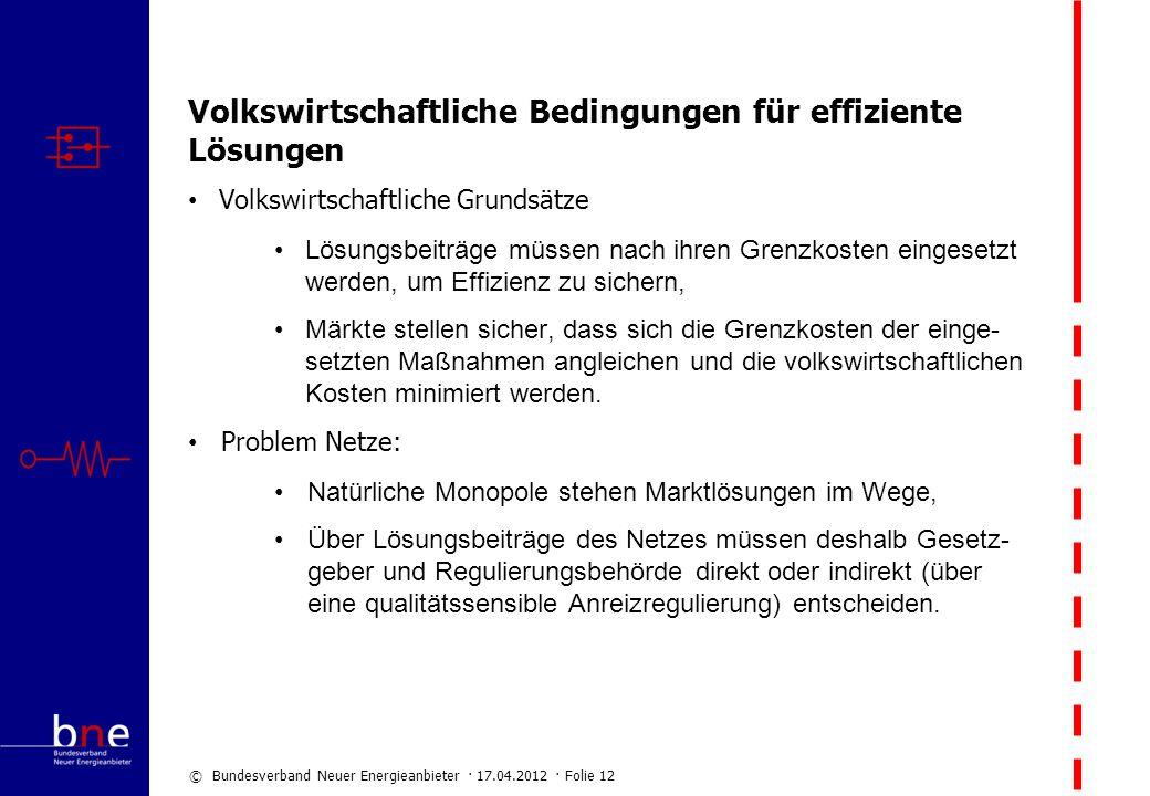 © Bundesverband Neuer Energieanbieter · 17.04.2012 · Folie 12 Volkswirtschaftliche Bedingungen für effiziente Lösungen Volkswirtschaftliche Grundsätze