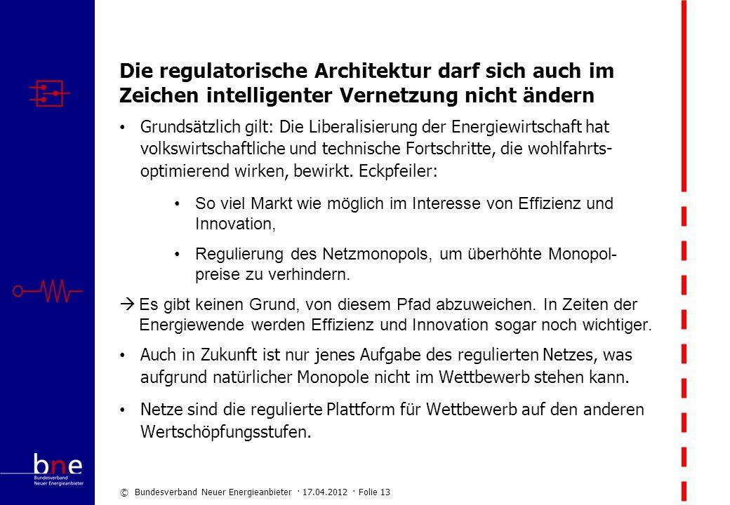 © Bundesverband Neuer Energieanbieter · 17.04.2012 · Folie 13 Die regulatorische Architektur darf sich auch im Zeichen intelligenter Vernetzung nicht