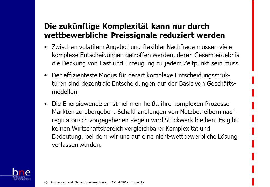© Bundesverband Neuer Energieanbieter · 17.04.2012 · Folie 17 Die zukünftige Komplexität kann nur durch wettbewerbliche Preissignale reduziert werden
