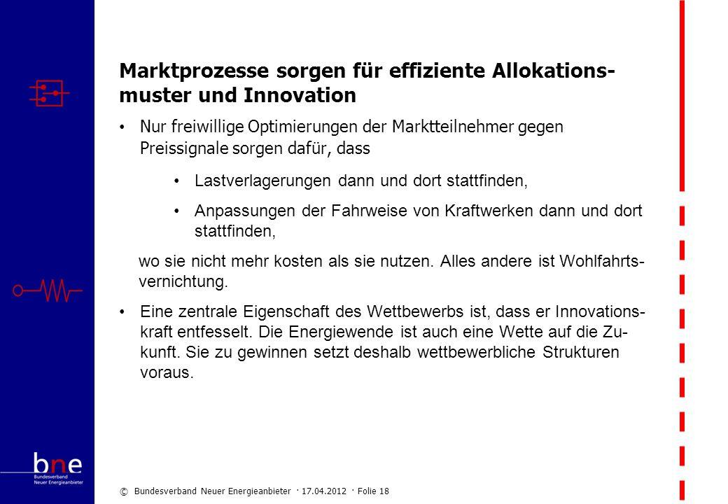 © Bundesverband Neuer Energieanbieter · 17.04.2012 · Folie 18 Marktprozesse sorgen für effiziente Allokations- muster und Innovation Nur freiwillige O
