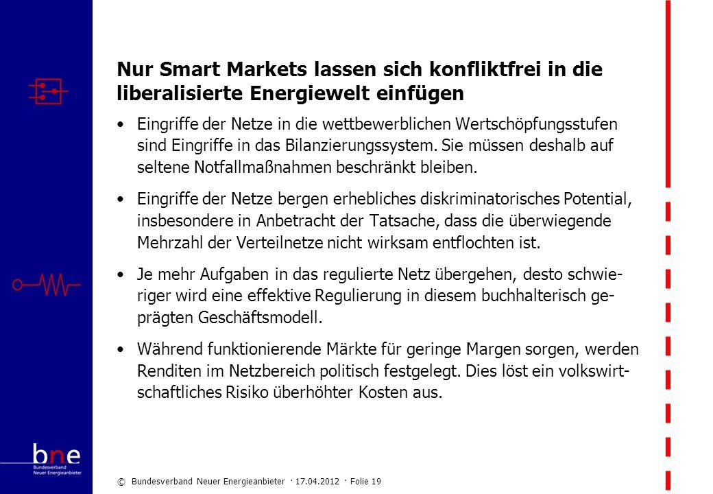 © Bundesverband Neuer Energieanbieter · 17.04.2012 · Folie 19 Nur Smart Markets lassen sich konfliktfrei in die liberalisierte Energiewelt einfügen Ei