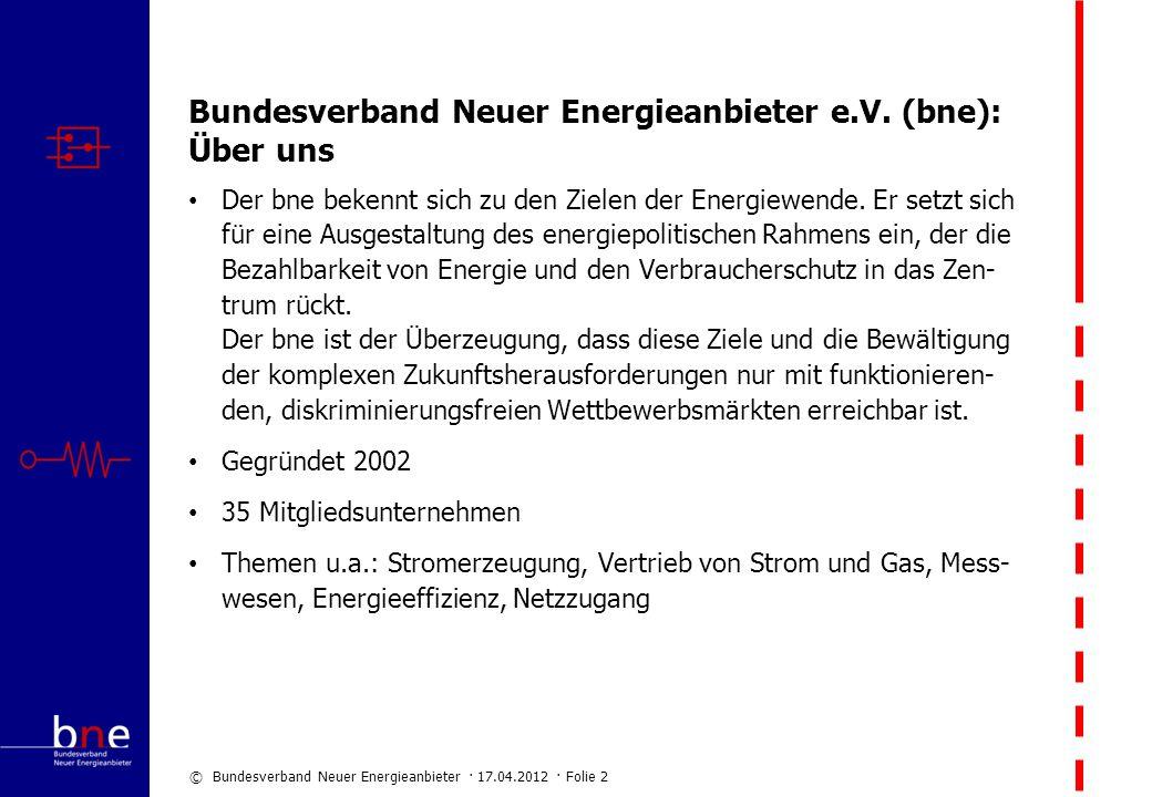 © Bundesverband Neuer Energieanbieter · 17.04.2012 · Folie 2 Bundesverband Neuer Energieanbieter e.V. (bne): Über uns Der bne bekennt sich zu den Ziel