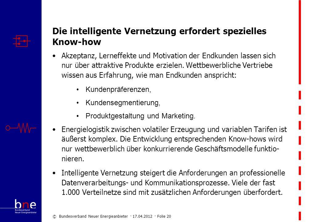 © Bundesverband Neuer Energieanbieter · 17.04.2012 · Folie 20 Die intelligente Vernetzung erfordert spezielles Know-how Akzeptanz, Lerneffekte und Mot