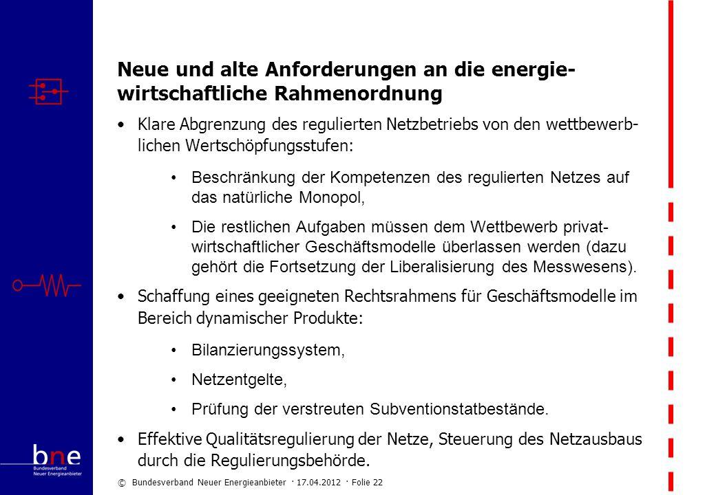 © Bundesverband Neuer Energieanbieter · 17.04.2012 · Folie 22 Neue und alte Anforderungen an die energie- wirtschaftliche Rahmenordnung Klare Abgrenzu