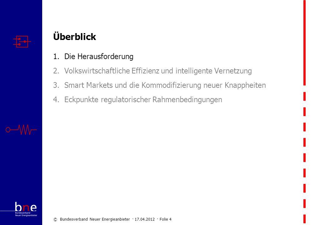 © Bundesverband Neuer Energieanbieter · 17.04.2012 · Folie 4 Überblick 1.Die Herausforderung 2.Volkswirtschaftliche Effizienz und intelligente Vernetz