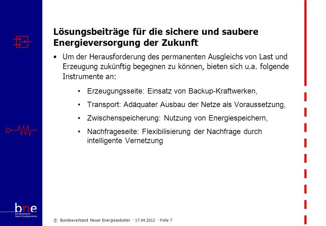 © Bundesverband Neuer Energieanbieter · 17.04.2012 · Folie 7 Lösungsbeiträge für die sichere und saubere Energieversorgung der Zukunft Um der Herausfo