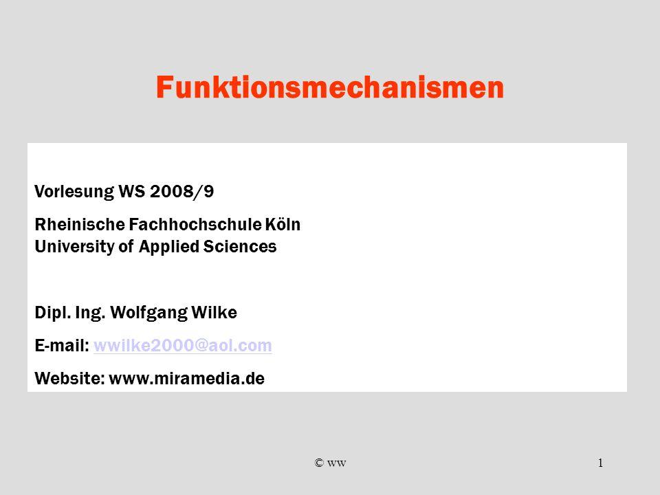 © ww1 Funktionsmechanismen Vorlesung WS 2008/9 Rheinische Fachhochschule Köln University of Applied Sciences Dipl. Ing. Wolfgang Wilke E-mail: wwilke2