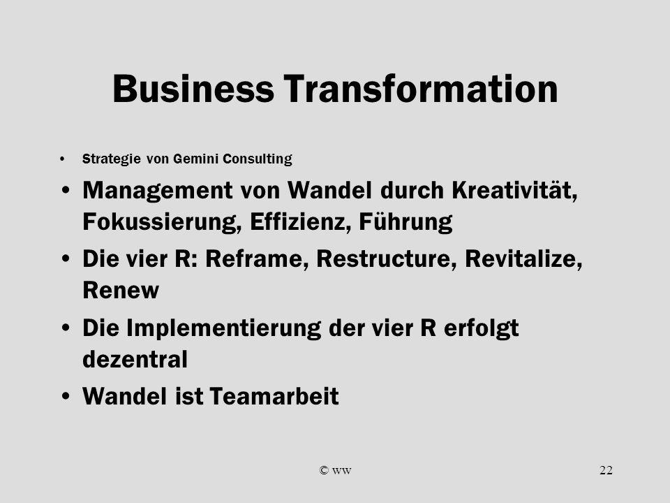 © ww22 Business Transformation Strategie von Gemini Consulting Management von Wandel durch Kreativität, Fokussierung, Effizienz, Führung Die vier R: R