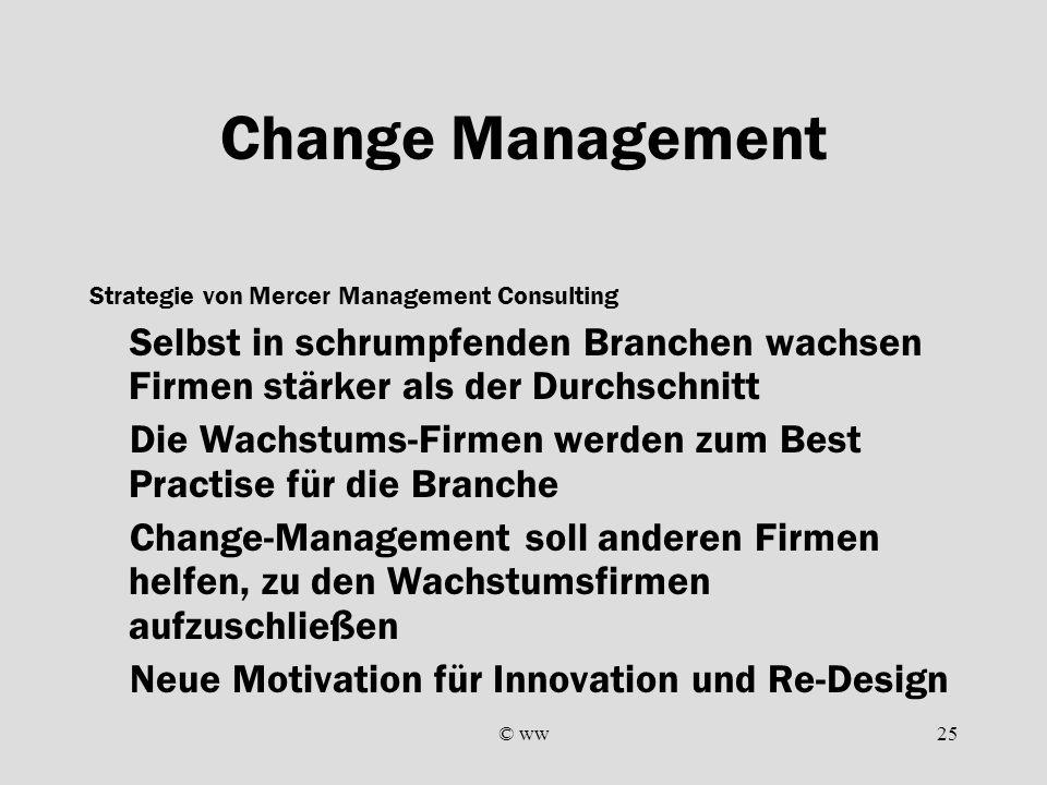 © ww25 Change Management Strategie von Mercer Management Consulting Selbst in schrumpfenden Branchen wachsen Firmen stärker als der Durchschnitt Die W