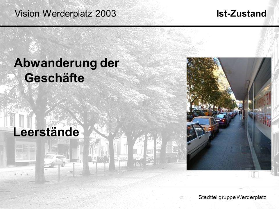 Stadtteilgruppe Werderplatz Verbesserung der Sicherheit Polizeipräsenz nach 16 Uhr Iglu verlegen Streetworker GrundlageVision Werderplatz 2003