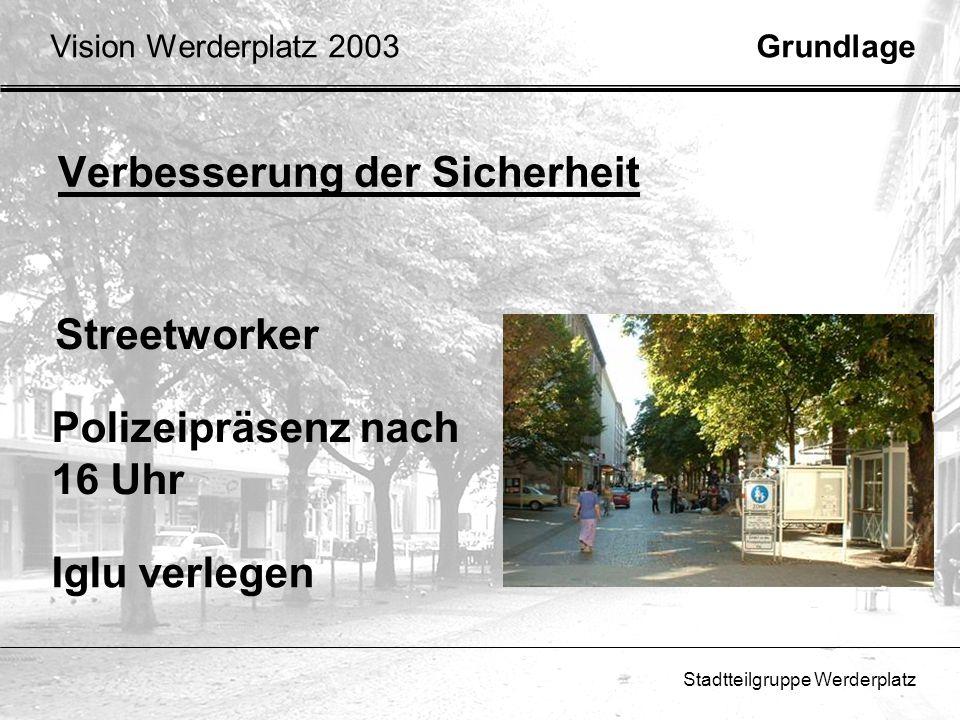 Stadtteilgruppe Werderplatz Fußgängerzone Werderplatz Freie Zufahrt für Anlieger Neues Parkkonzept in der Südstadt GrundlageVision Werderplatz 2003