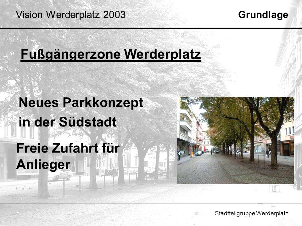 Stadtteilgruppe Werderplatz GrundlageVision Werderplatz 2003 Beispiele für neue Nutzungszonen: GastronomieMarktStrassen Cafe Spiel- ecke Attraktiver Westeingang